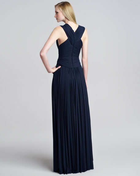 Sunburst Jersey Sheer-Panel Gown