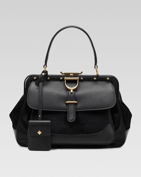 Calf Hair Lady Stirrup Top-Handle Bag, Medium
