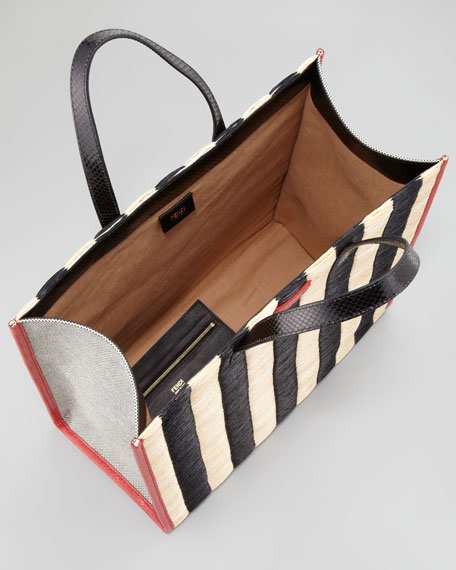 Pequin Striped Raffia & Snake Tote Bag