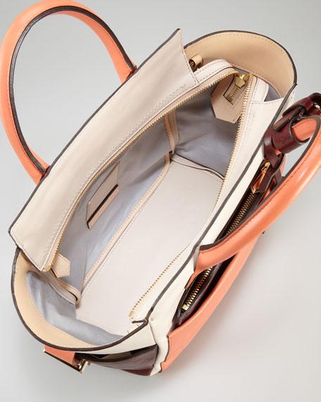 Atlantique Mini Tote Bag, Coral/Cream/Brown