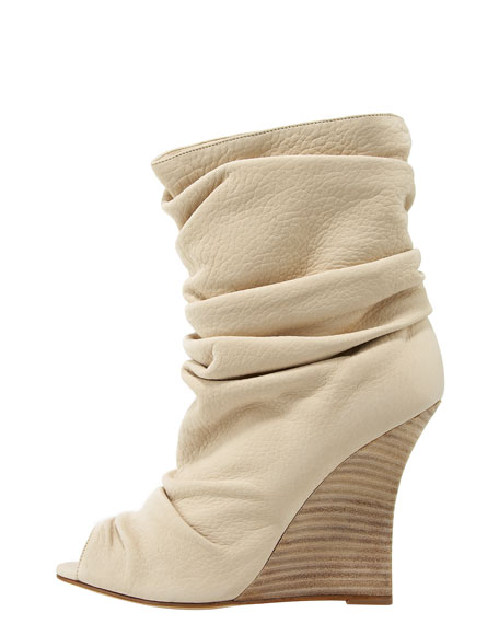 Peep-Toe Slouched Wedge Bootie, White