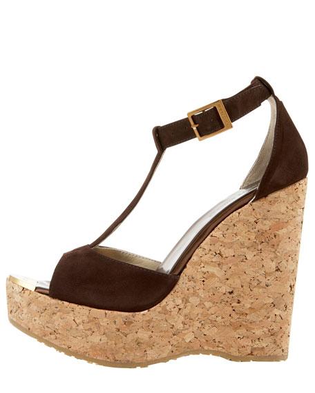 Pela Suede T-Strap Cork-Wedge Sandal