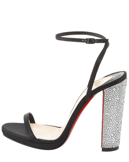 Au Palace Crystal-Heel Satin Red Sole Sandal