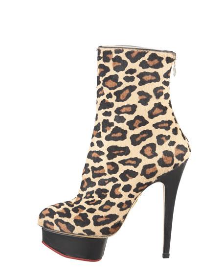 Lucinda Leopard-Print Calf Hair Platform Ankle Boot