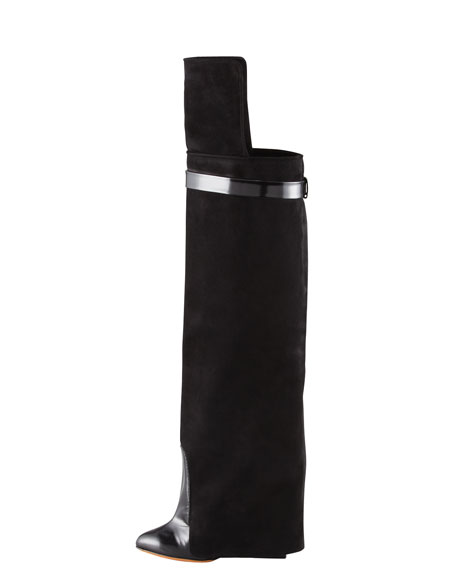 Spazzolato and Suede Over-the-Knee Boot