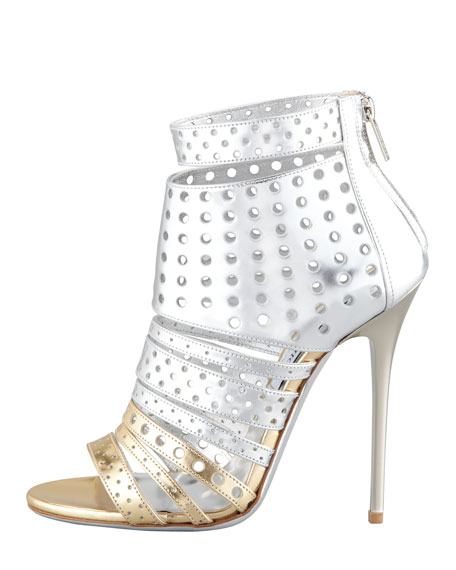 Malika Perforated Metallic Leather Sandal