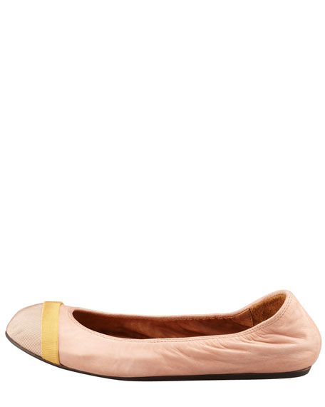 Grosgrain Cap-Toe Scrunched Leather Ballerina Flat