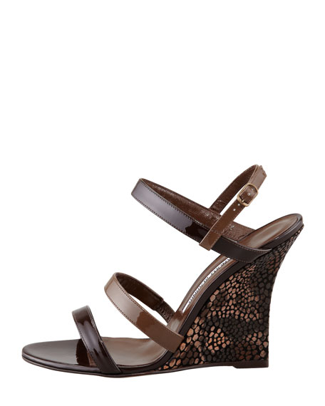 Villano Ankle-Wrap Wedge Sandal, Brown