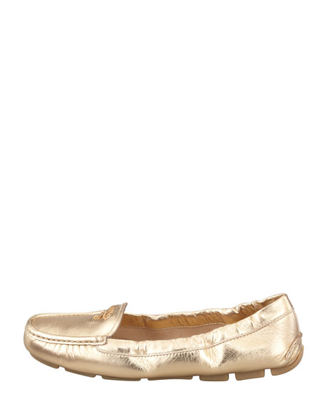 Metallic Leather Scrunch Loafer
