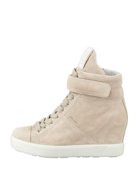Suede Hi-Top Wedge Sneaker, Pomice