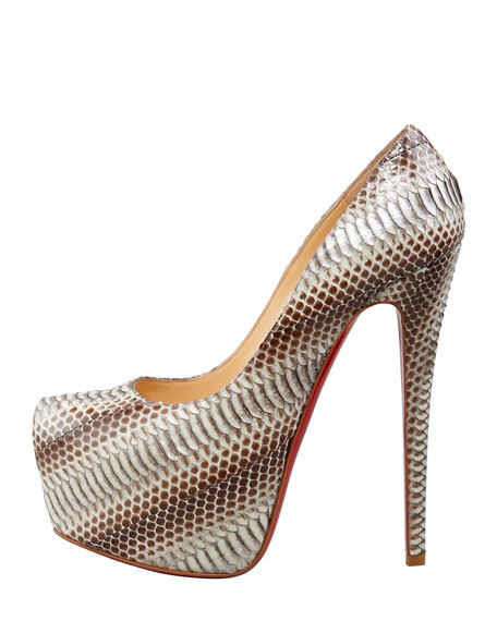 Daffodile Snakeskin Red Sole Platform Pump, Stone