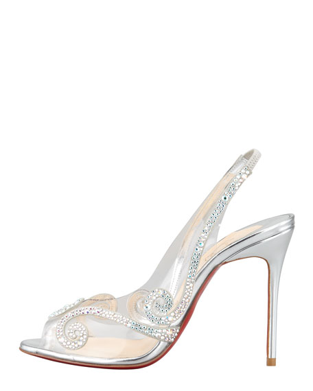 Au Hameau Clear Crystal-Swirl Red Sole Slingback