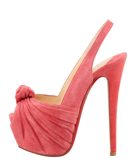 Miss Benin Suede Knotted Platform Red Sole Slingback, Rose