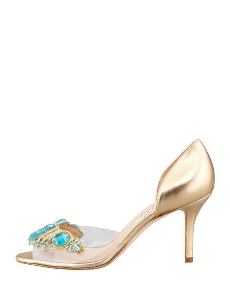 Metallic Leather Clear-Vamp Pump