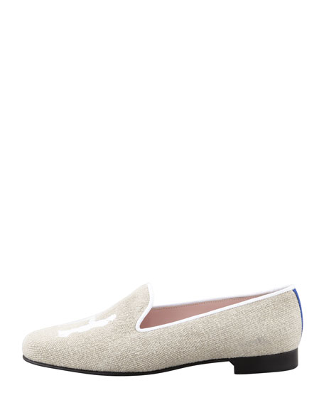Audrey Linen Smoking Loafer, Tan/Ivory