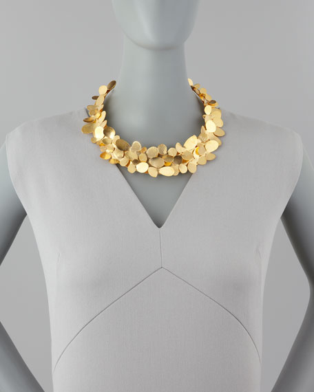 Gold Petal Collar Necklace
