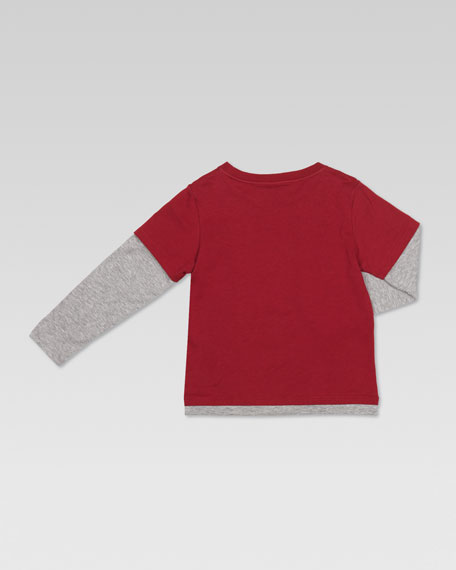 Check-Print Faux-Layered Tee, Cranberry