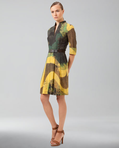 Garden-Print Cotton Voile Dress