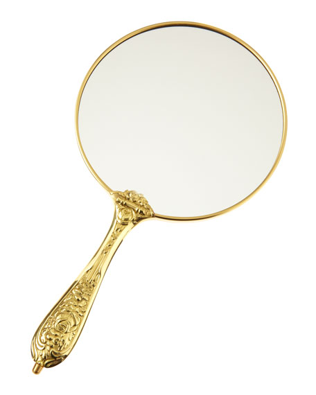 Antiqued Brass Hand Mirror, 5.5""