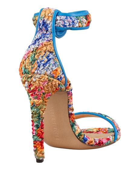 Tadpole Floral-Print Curve-Heel Sandal