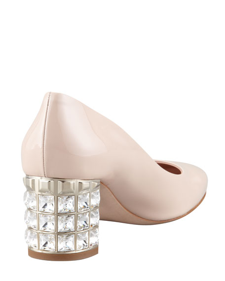 Crystal-Heel Patent Pump, Rose