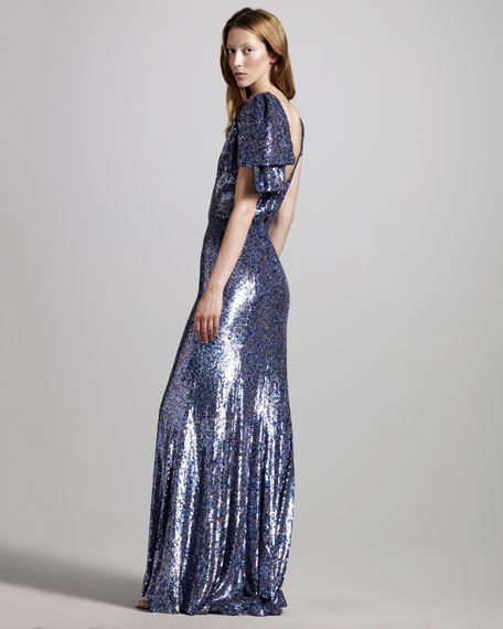 Sequined Bow-Shoulder Gown
