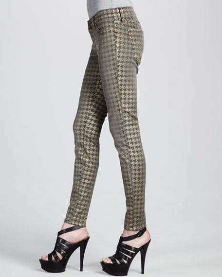 The Ankle Skinny Foil Houndstooth Jeans