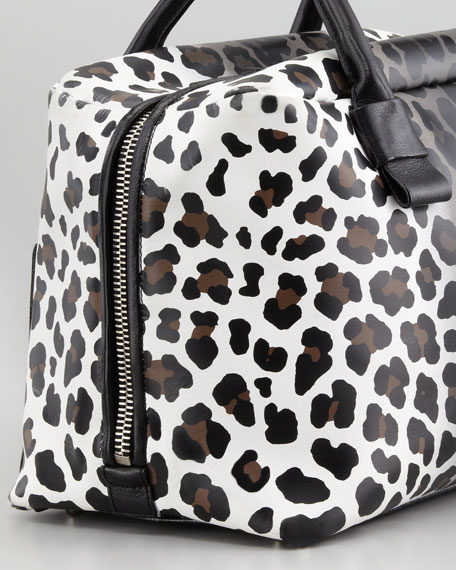 Antonia Small Leopard-Print Satchel Bag, Natural