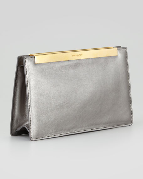 Lutetia Metallic Leather Clutch Bag, Gunmetal
