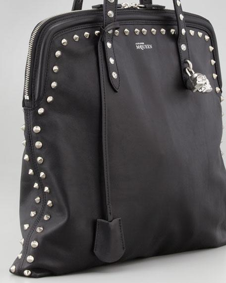 Skull Padlock Studded Tote Bag, Black