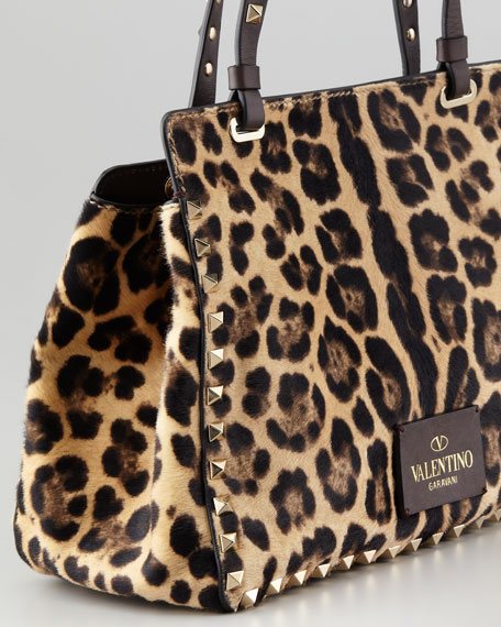 Rockstud Mini Leopard-Print Calf Hair Tote Bag
