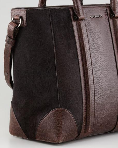 Lucrezia Medium Stamped Calf Hair Shopping Bag, Dark Brown