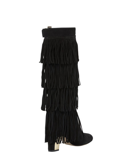 Palazzo Suede Fringe Tall Boot