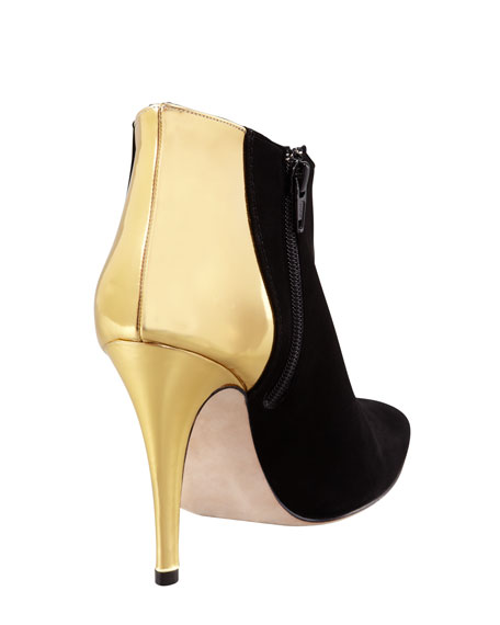 Maleeba Metallic-Heeled Bootie, Black/Gold