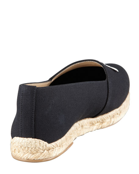 Gala Embroidered Crest Espadrille Loafer, Black