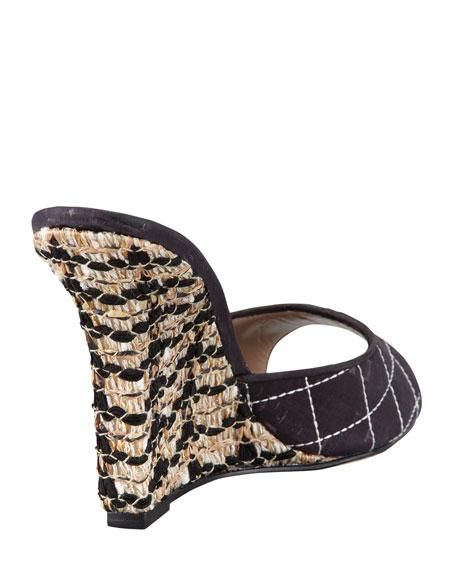 Vince Slide Cork Wedge Sandal, Black