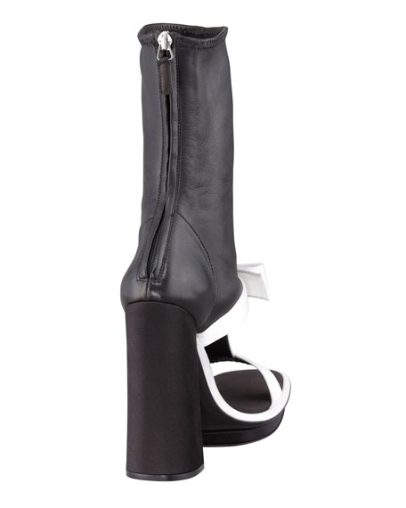 Satin & Leather T-Strap Ankle Boot Sandal, Black/White