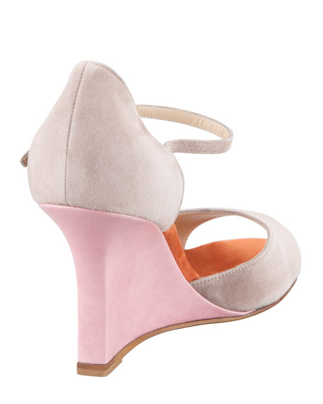 Weldina Suede Mary Jane Patent Wedge Sandal, Taupe