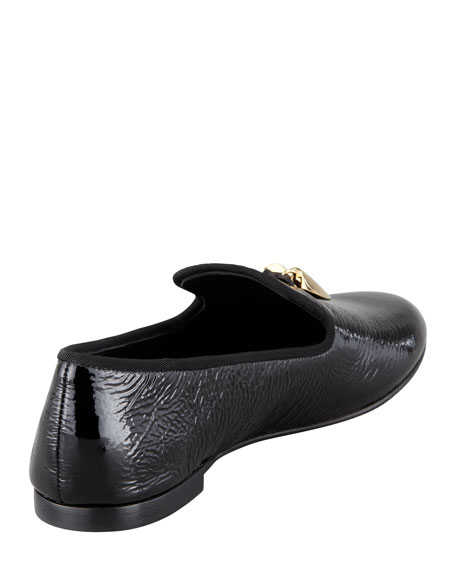 Horn-Detail Patent Smoking Slipper, Black