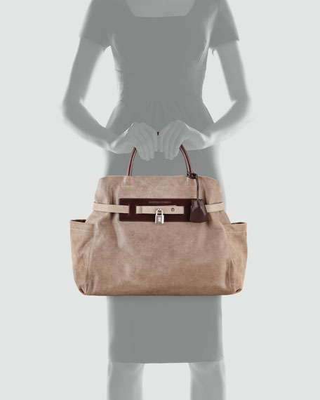 Padlock Satchel Bag, Dark Taupe