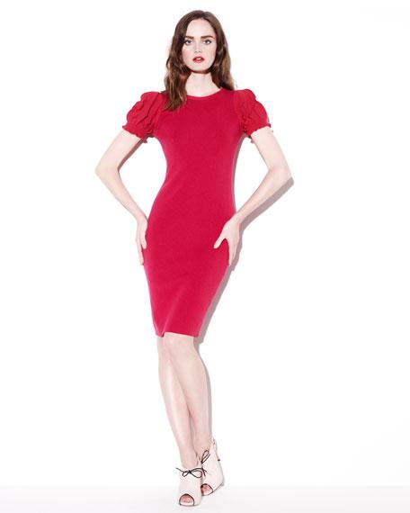 Ruffle-Sleeve Knit Dress