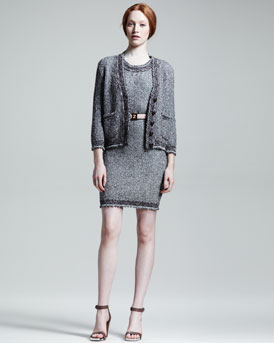 Fendi Knit Cardigan & Metallic Cotton Knit Dress