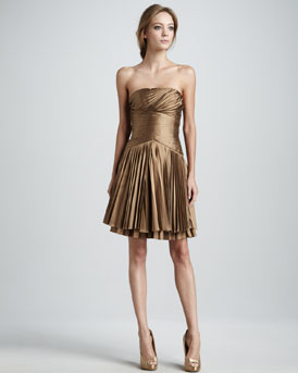 Halston Heritage Pleated Strapless Dress