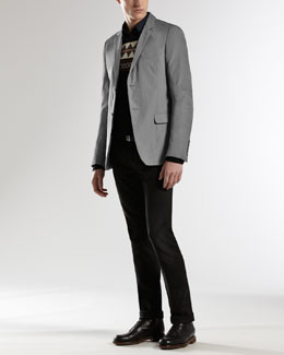 Gucci Palma Padded Jacket, Pattern Sweater & Horsebit & Web Detail Skinny Jeans