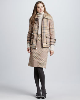 Tory Burch Jasmine Plaid Skirt & Angelina Boucle-Trim Turtleneck