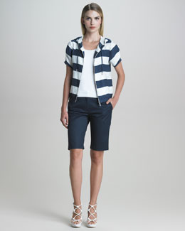 Armani Collezioni Short-Sleeve Nautical-Striped Jacket, Sleeveless Jersey Shell & Sport Cotton Bermuda Shorts