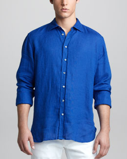 Giorgio Armani Long-Sleeve Linen Shirt