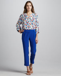 Milly Katalina Boat-Print Blouse & Nicole Cropped Silk Pants