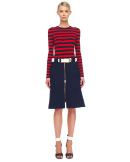 Michael Kors  Striped Knit Top & Front-Zip Utility Top