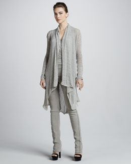 Donna Karan Long Draped Tunic, Draped Sleeveless Tunic & Exposed-Seam Pull-On Pants